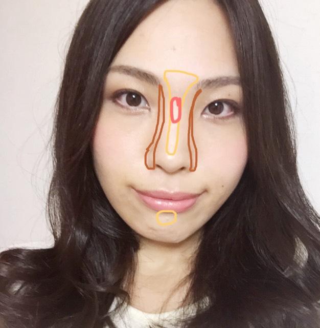 鼻の形がスッとなるように小鼻にもシェーディングをつけます。赤い部分は特に凹んでる箇所なので1ハケ多めにハイライトをつけてます。