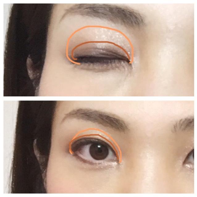 キャラメル色(②)をアイホールと、目頭オーバー目に塗ります。上からツヤ出し目的のベージュ(①)をブラシで1回なぞる程度。右下チョコ色は二重幅にがっつり濃く入れて、境目だけなじませる。