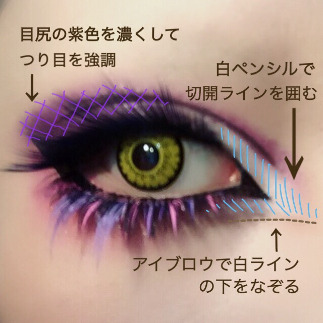 カラーつけまを、先に付けたつけまの下に重ねてつける。 バランスを見てシャドーの色を足し調整。 目頭の白も強調させる。 白ラインの下にブラウンで影を入れると更に効果的。
