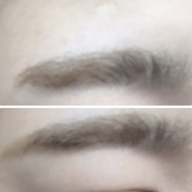 眉毛を描きます。  眉毛の色は髪と同じ色か、ワントーン明るめに。  平行眉にかきます。