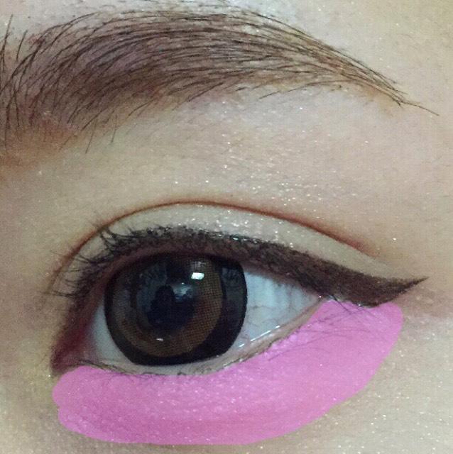 アイシャドウベースをぬります。 アイホール くの字 涙袋にのせます。  次に涙袋(ピンクの印全体)に ピンクシャドウをぬります。 ピンクのチークでも代用可能です。  可愛さをだします。
