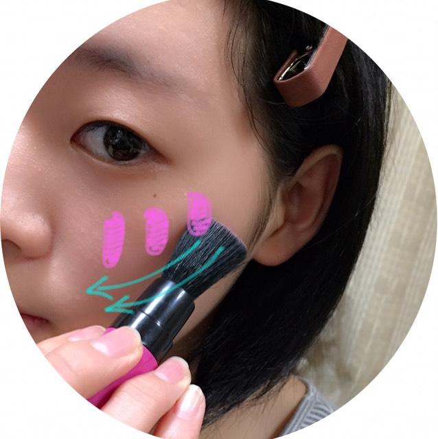 みどりの矢印は、 軽く筆に粉のチークをつけて、楕円形に塗っていきます。 そうすることによって、チークが長持ちします。