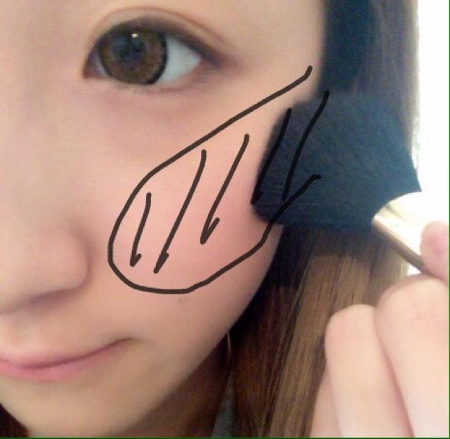 ②チーク 顔が小さく見えるよに塗ります。ほっぺの内側から上の方へと塗ります。