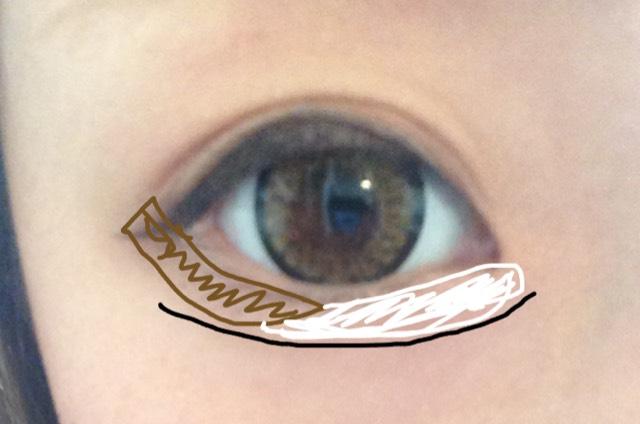 私は眉毛を枠どったペンシルで黒の線を引きます。薄くね♪濃くなったら少しこすって下さい
