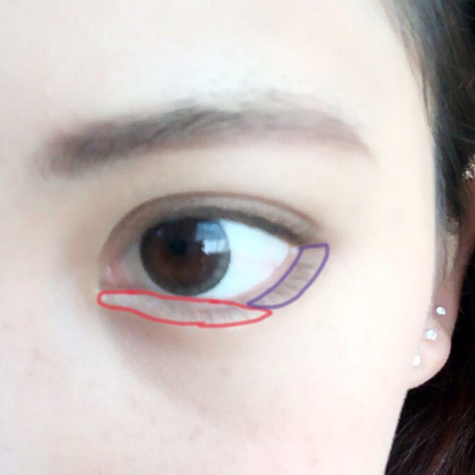 赤のラインのところに5番 紫のところに3番を塗り塗り