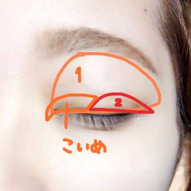 1の白をアイホール全体と目頭から目の真ん中にかけて濃いめに塗る。 2の赤を目尻にかけて濃いめに、グラデーションを指で作る