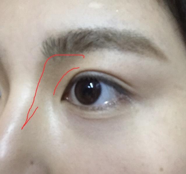アイブロウパウダーでノーズシャドーをつける。  赤線のように黒目から。 濃くなりすぎたら中指で鼻筋に沿ってのばします