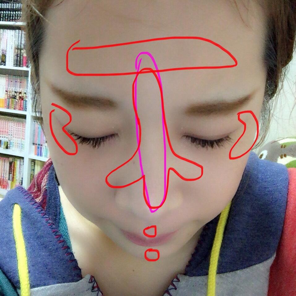 気持ち悪いけどこんな風にぬってます。。ピンクの線はキャンメイク。赤の線はキャンディドールのむらさきです。