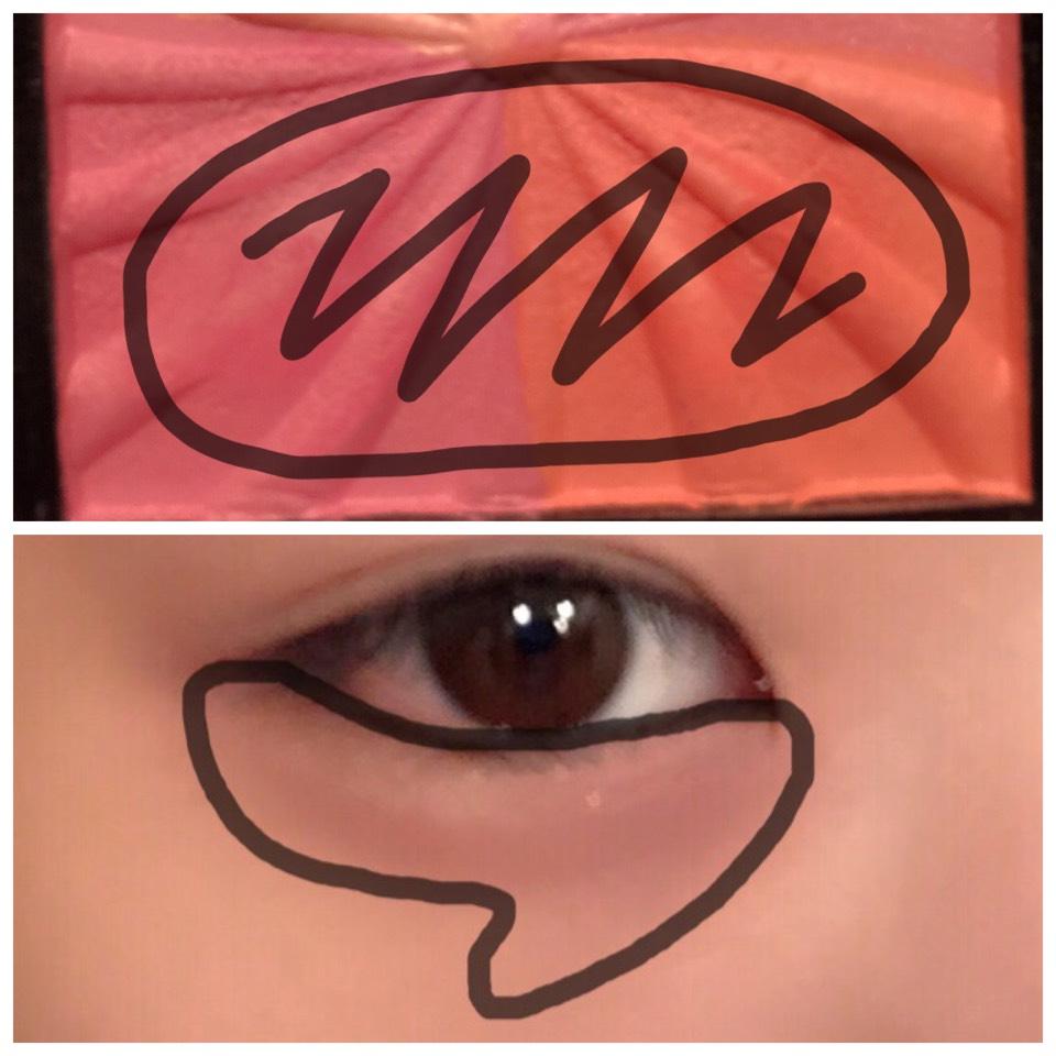 濃いピンクと濃いオレンジのチーク2色を筆にとり下瞼にのせていきます。(チークはダイソーです)