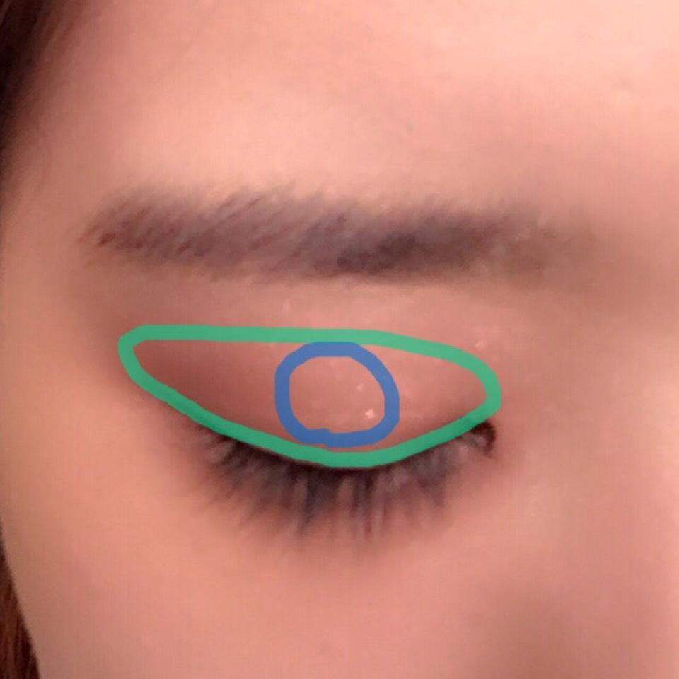 bのシャドーを二重幅にのせます。そして、cのラメシャドーを上瞼の中心に指でポンポンとのせます。