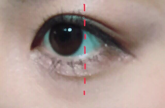 黒目まで(赤線より左) まつげを上げ、マスカラは上げたまつげだけしっかり塗ります。  ビューラーをしていないまつ毛はサッと塗ります。