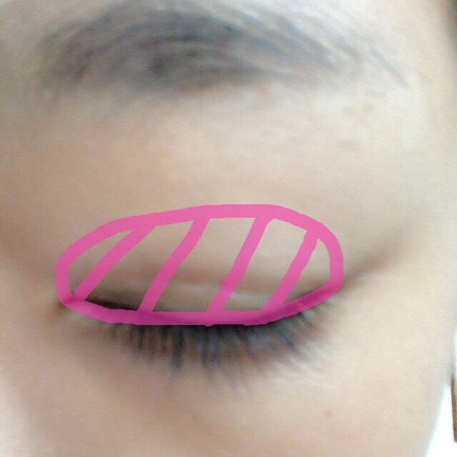 白のシャドーを指で ピンクで囲ってある アイホール全体に馴染ませます。