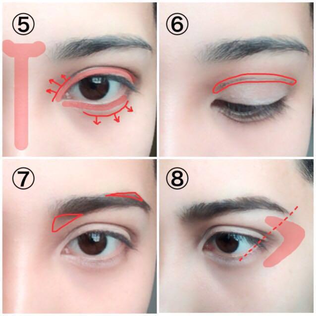 ⑤二重線と涙袋の影を描きます。赤線から矢印の方向にぼかして入れると良いです。赤トーン部分にハイライトを入れて陰影をガッツリ出します。 ⑥最初に作った二重線の部分に上にぼかすようにシャドウを入れます。二重線の下(まぶた部分)は全体をパール系の明るいシャドウで覆ってください。 ⑦眉毛を描きます。できるだけ眉頭を目に近づけ、眉山を大き目に作ってください。 ⑧眉毛の長さを点線のように伸ばし、赤トーン部分にハイライトを入れて下さい。