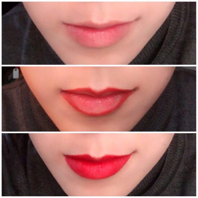 口紅を塗る際はまずリップクリームなどで保湿→ティッシュオフで準備をして下さい。リップライナーでの輪郭取りは、ハーフメイクの場合はオーバーリップ気味に描くと◎ 色落ちが心配な場合はリップライナーで全体を塗ってから口紅を塗ると良いと思います。 口紅を塗った後は必ずティッシュオフして下さい。色の着きが悪い様なら2、3度同じ工程を繰り返して下さい。