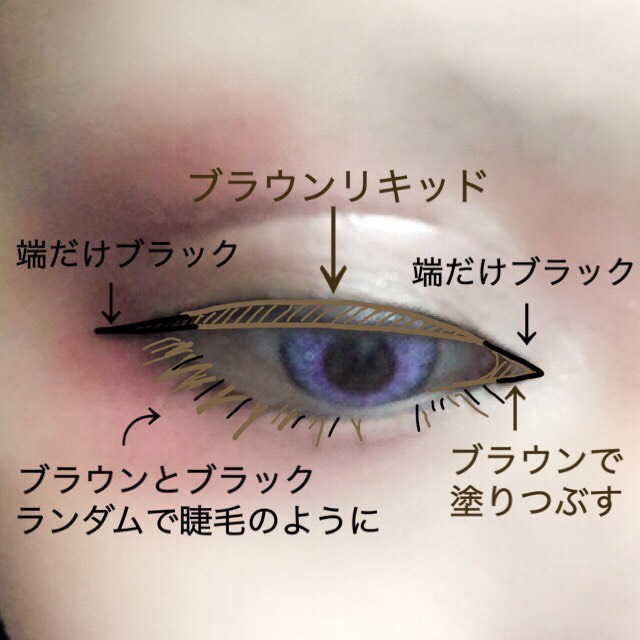 アイライナーは二種類使ってます。 色素の薄い感じにしたいので全体にブラウンを、くっきりとパーツを際立たせたいので目頭、目尻のみブラックを使います。 下は目に沿ってラインを引かず睫毛を描くように。