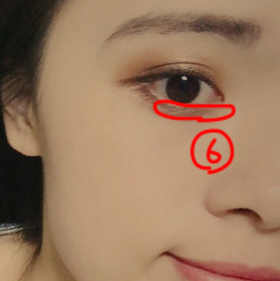 今度は内側から外、目尻に向かって6番の色で塗ります。これで目もおっきくなるはず!