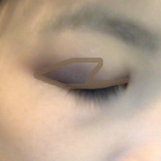 ④を睫毛の生え際から半分から目尻側の二重幅に塗ります