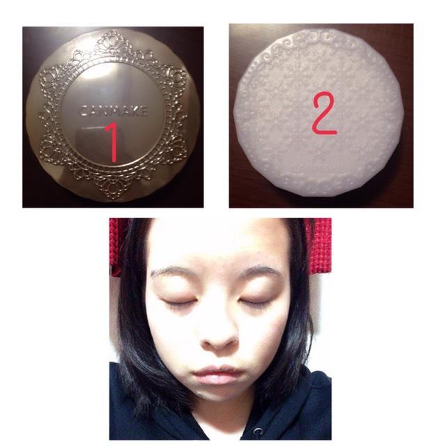 顔全体に1番のフェイスパウダーを塗り、テカリが気になるところに2番を塗ります。