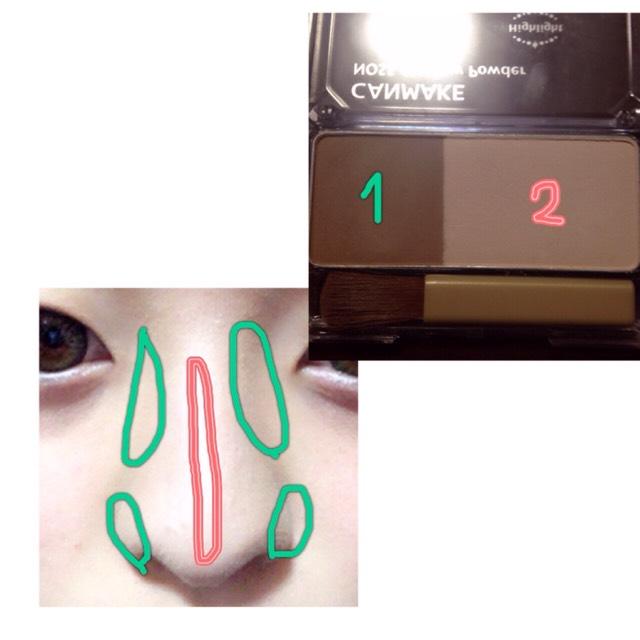 次に鼻を高く見せるためにノーズシャドウを使います。 まず、1番のシャドウを緑のところに乗せ、2番のシャドウを赤いところに乗せます。