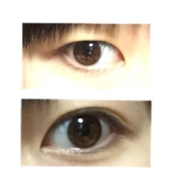 すっぴんの目です。私は右目が一重、左目が奥二重です。