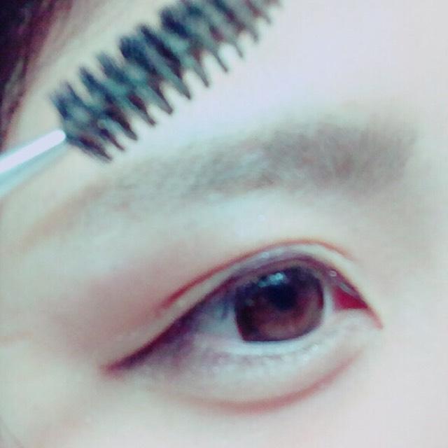 スクリューブラシでぼかした後、 描いた色より薄い色のアイブロウパウダーで眉全体にのせる。