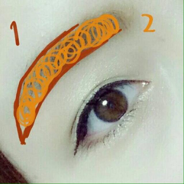 眉は枠だけライトブラウンのアイブロウペンシルで描き、ぐるぐるって書いてるとこはアイブロウパウダーをブラシで全体的にのせてください!