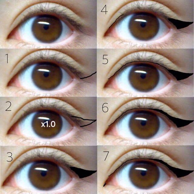 アイラインの引き方  『自己流』  キャットアイラインなので最初に目尻の ハネから書いて 最後は目を大きく見せるために切開ラインを目頭に軽く引きます。  (×1.0はミスなので気にしないでください)