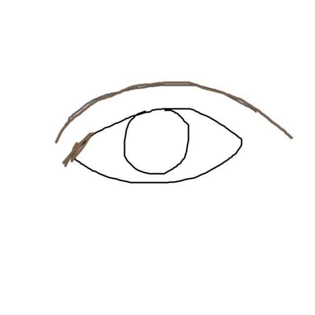 二重のラインには茶色のペンシルで強調して、切開部分も茶色のライナーでかきます。