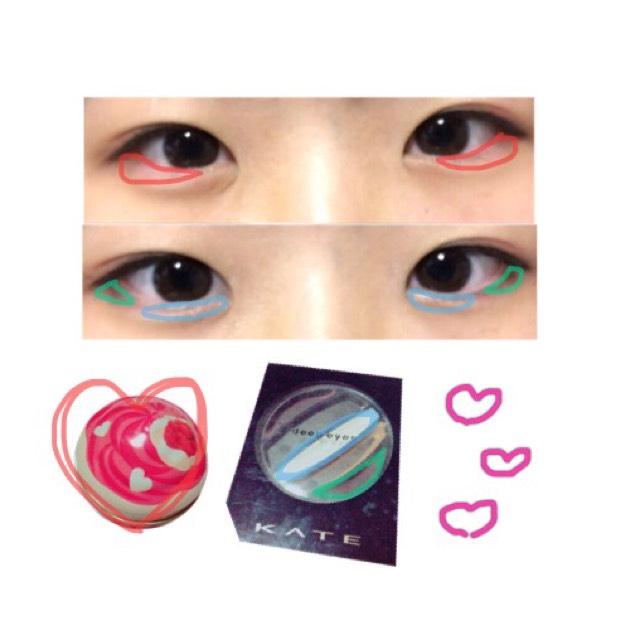 【ポイント!】涙袋の中心にクリームチークの赤を薄めに塗ります。そして目頭にdeep eyesのホワイトラメを少し濃いめに塗り、目尻のアイライナーに馴染むようにdeep eyesの一番濃いブラウンを黒目の下にかけて目尻から太⇨細になるように塗ります。