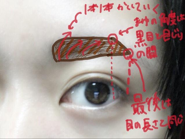そして、アイブロウペンシルで眉毛を書いていきます!✨  ❤️point❤️ 眉毛を一本一本書いてください!!  そして眉のかくっ!ってなっている角度の所は自分の黒目と目尻の間に来るように書くとバランスが良くなります!  そして長さは目尻と同じ位置がBest!✨
