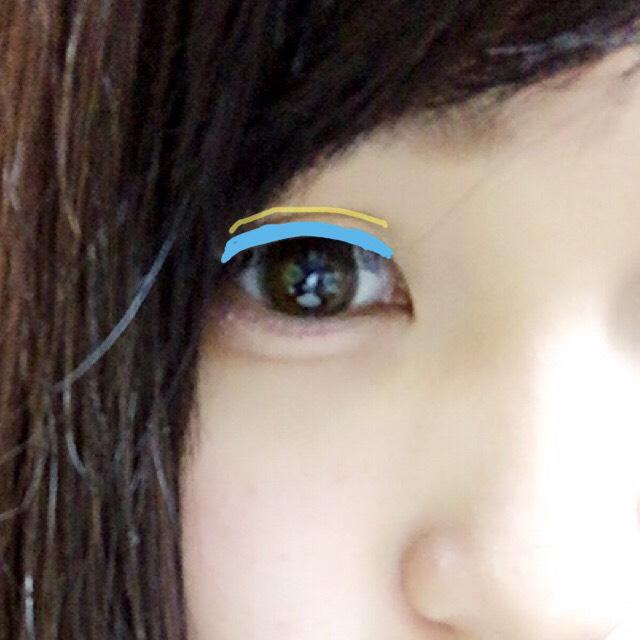 ①青のラインの部分にマットなベージュのシャドウを塗る。二重幅には塗らないように注意。  ②黄色のラインの部分に濃いブラウンのシャドウを塗る。二重幅の影を作るように!