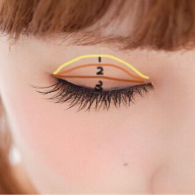 次はアイメイクです!!!!!!!  ※私の目ではないですw  一番明るい色を全体に 薄い茶色を二重幅に 濃い茶色を目の際にぼかしながらいれてください!!!!!!!