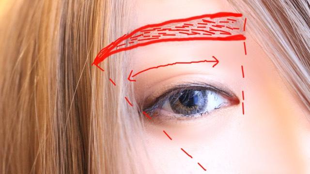 まつ毛は下向きに黒マスカラを塗りすだれまつ毛にする。したまつ毛をよりしっかりするとセクシーな印象に、 まゆは赤で書いたようにペンシルで書き眉頭からグラデになるようにアイシャドウをふんわりのせ100均のアイブロウコートを塗り乾かす