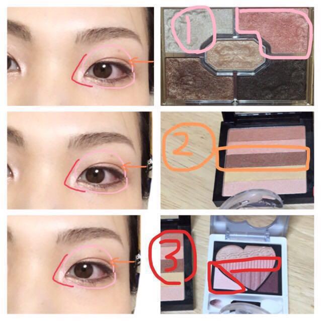 目元はピンクを全体につけて、②を薄くブラシに含ませて二重の溝だけをなぞってホリ深に仕上げ、③はピンク→白の順にくの字になぞって抜け感を作る。 ブラウンのアイライナーで囲み目、黒のマスカラで仕上げる。