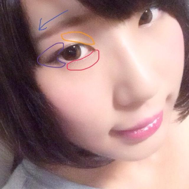 紫(目尻)の部分には、下瞼に紫のシャドウを、上瞼にブラウンのシャドウを置く 赤の部分はハイライトで明るい白のラメシャドウを置く 黄色の部分もハイライトとして、ベージュのラメシャドウを置く  眉はやや下がり気味で  唇は発色のいい赤のリップに、ピンクのラメグロスを重ねる