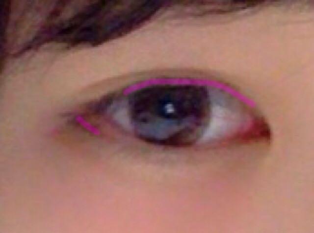ピンク線の部分にペンシルアイライナーを引く