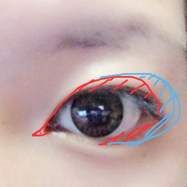 赤…アイライナーで塗りすぎやろってくらい塗ります。 私は瞼がおもたいのでこれでもかってくらい書きます。 青…ほぼ黒に近い色を目の周りにガシガシ塗っていきます。