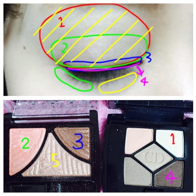 アイメイク♡ キャンメイクジューシーピュアアイズ06番とディオールサンククルール646番を図のように載せます♡2のピンクは割と濃いめにしました!