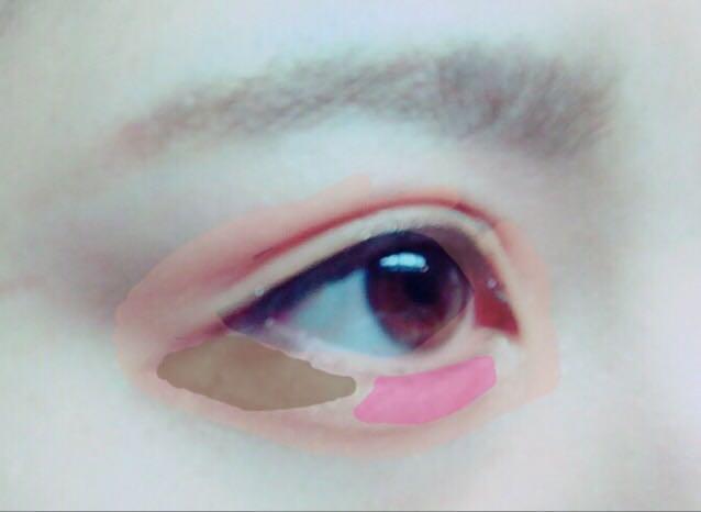 わかりずらいですが、  薄だいだい色→ゴールドアイシャドウ ピンク→ピンクのチーク ブラウン→ブラウンのアイシャドウ
