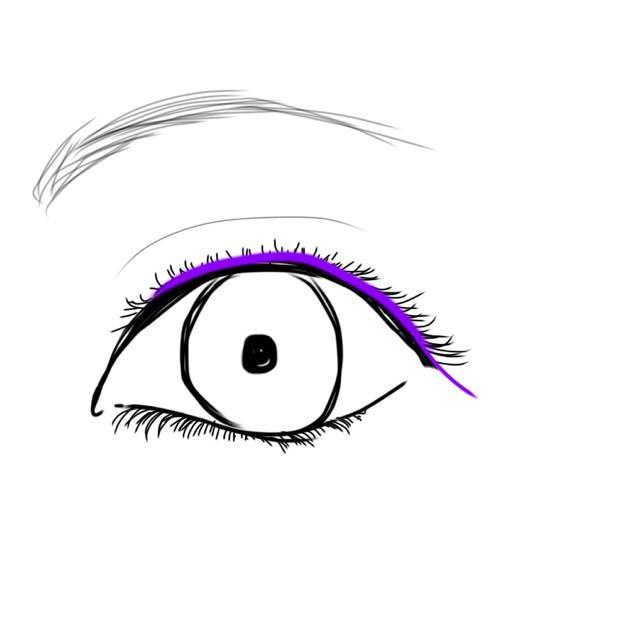 次はアイラインです!! *紫の線のように細く跳ね上がらない様に下にはらうようにして書きます  ※まつげの間や粘膜の部分に隙間ができないように