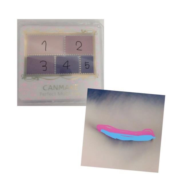 アイホール全体に1と2。 3をピンクのところまで。4を水色のところ に塗ります! 3で涙袋の影になる部分を書きます!
