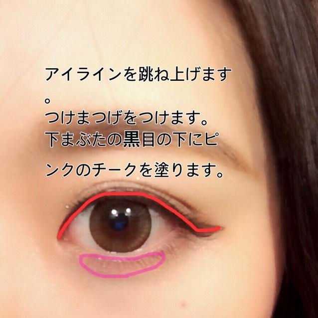 アイラインは目尻を跳ね上げます。 下まぶたの黒目の下にピンクのチークを塗ります。 マスカラを塗ってからつけまつげをつけます。