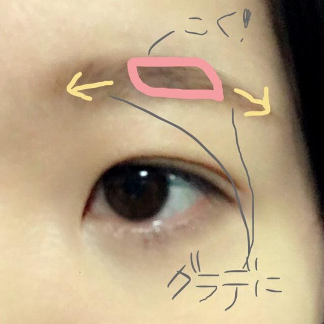 眉毛。明るい色で眉の形を書き、眉山付近が濃くなるようにパウダーを乗せます。