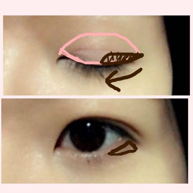 アイシャドウです。明るいピンクを上瞼全体に指で乗せます。次に、茶色をチップにとったら、目尻から目頭側に向けてグラデーションになるように、目尻から3分の1〜半分くらいまでの範囲に塗ります。 下瞼は、目尻の三角ゾーンを埋めるように塗ります。