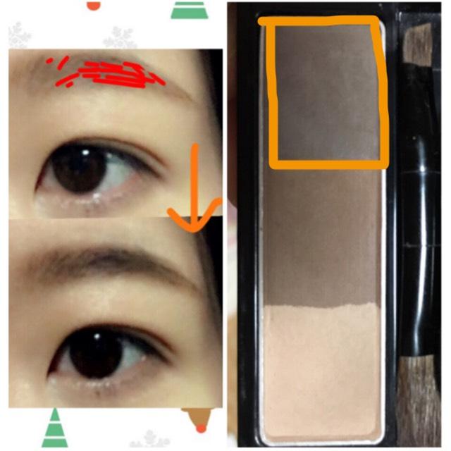 引き続き眉毛。次はオレンジ線で囲んだ1番暗い色で赤線のように描き足します。眉山付近が濃くなるように〜眉毛が剥げてる部分にもちょんちょんと乗せてごまかします。