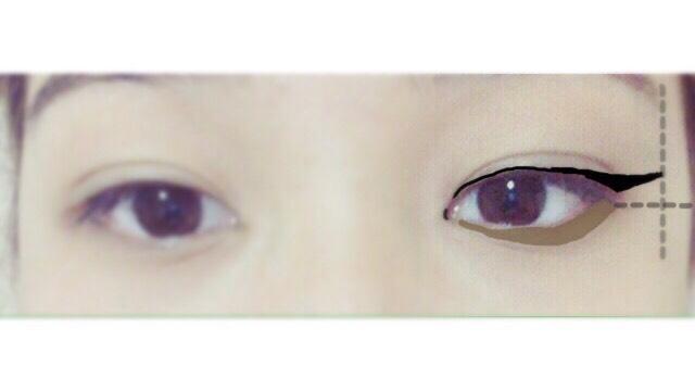 目の下に軽くアイシャドウを入れます。 まぶたと同じアイシャドウの色を使用します。まぶたの下にアイシャドウをいれると目が大きく見える効果があるそうです。