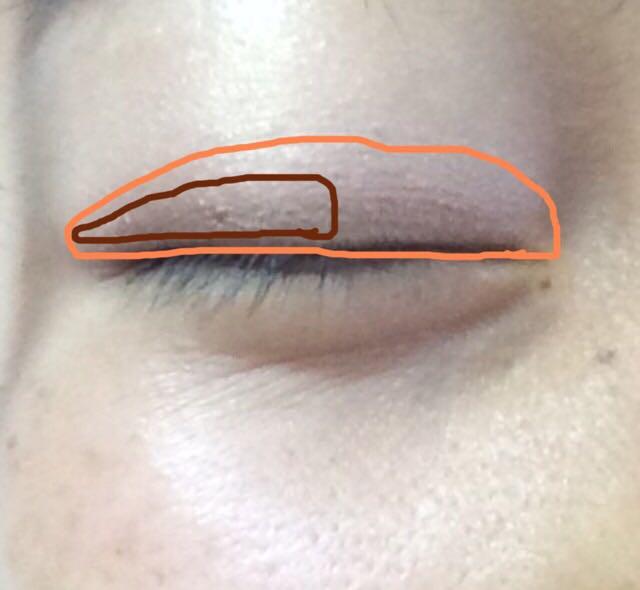 オレンジっぽいベージュシャドウを二重幅に当たる所に、目尻から中心に向かってブラウンシャドウを塗ります