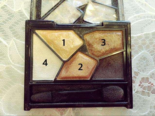 1を目ん玉の所に 2を二重幅の所に 3を目の下らへんに 4を涙袋に  それぞれ塗ります。