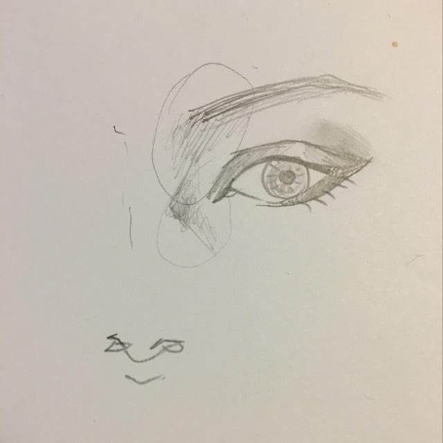 この部分にノーズシャドウをいれる 眉毛は太く眉山をしっかりかく