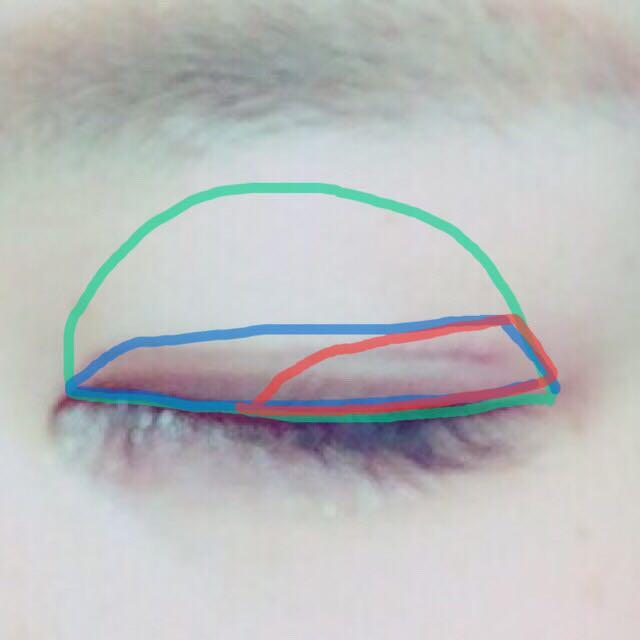 1☞アイホール全体 2☞二重幅より少しだけ広めに 3☞二重幅の目尻側半分に。目尻側に行くにつれて広く 4☞軽く薄く3に重ねる